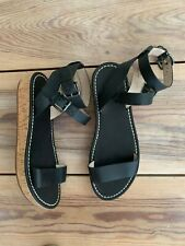 FRENCH CONNECTION black leather cork wedge flatform sandals