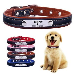 Custom Name Pet Dog collar ID Tag soft leather personalized Engraved Name Plate