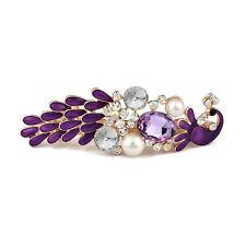 Women Purple Rhinestone Peacock Hair Pin Barrettes Hairpin Clips Accessories