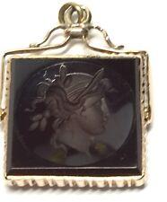 Victorian Watch FOB 14K - Carved Cornelian Ladies Head (J684)