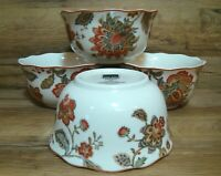 "SET OF 4 - 222 FIFTH - PTS - WINTER FLORAL RED - 5 3/4"" ROUND SOUP CEREAL BOWLS"