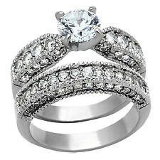 Steel Wedding Ring Set Women's Size 5-10 3.15 Ct Round Cut Aaa Cz Stainless