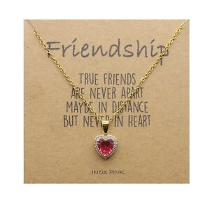 Red Heart Friends Pendant Necklace Friendship Wish Card