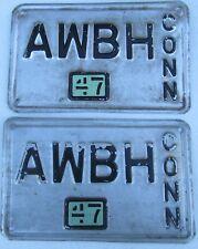 Connecticut 1947 VANITY License Plate PAIR AWBH