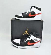 NEW AIR JORDAN 1 MID MEN'S BLACK CHILE RED WHITE SIZE 12 SHOES 554724-075 DS