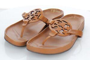 A43 $228 Women's Sz 8.5 M Tory Burch Miller Cloud Leather Logo Sandals