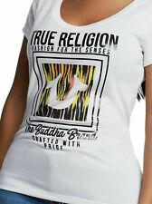 True Religion Women's Ikat Horseshoe Round V-Neck Tee T-Shirt in White