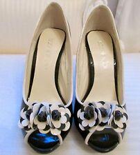 Isabella Cole genuine black patent leather flower embellished peeptoe shoes UK 5