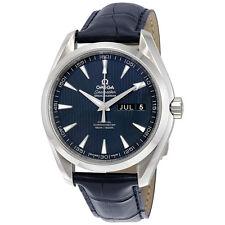 Omega Aqua Terra Co-Axial Annual Calendar Blue Dial Blue Leather Mens Watch