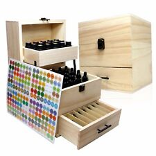 SXC Essential Oil Wooden Box Multi-Tray Organizer - 3 Tiers Storage Case