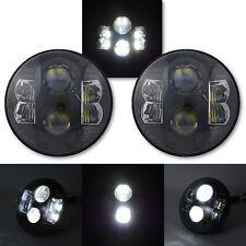 """7"""" Black Projector HID 6500K  White LED Octane Headlight Lamp Light Pair"""