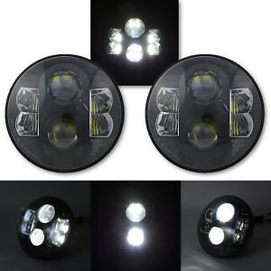 "7"" Black Projector HID 6500K  White LED Octane Headlight Lamp Light Pair"