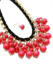 Hot Pink Bib Necklace Multi-Layer Beading & Gold With Black