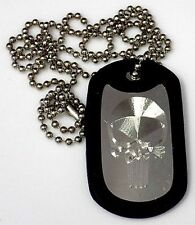 "Punisher Skul & 30"" Pendant Dog Tag Stainless Steel Chain Rubber Edge EDG-0048"