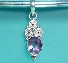 "1"" Amethyst Drop 925 Sterling Silver Handmade Pendant"