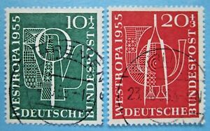 BUNDESREPUBLIK 1955 WESTROPA MINR.217-218 ZENTRISCH GESTEMPELT  KW.20,00€