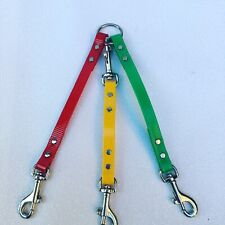 Twin Triple Dog Lead Coupler Small -Medium dogs- Biothane High Gloss Red Green Y