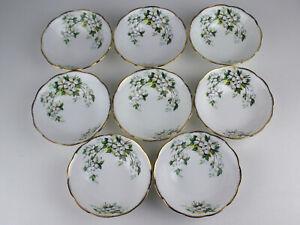 Set 8 x Soup / Cereal Bowls Royal Albert White Dogwood vintage England