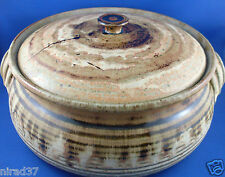 SIGNED Australian ABSTRACT TRIBAL Stoneware LARGE Pottery Casserole Dish VG Aus