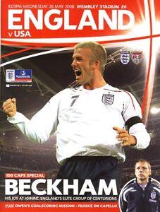 ENGLAND v USA 2008 - David Beckham 100 caps special edition Souvenir programme