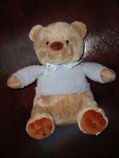 Prestige Plush Tan Brown Teddy Bear Blue Shirt Seated Sitting Stuffed Baby Toy