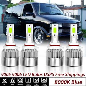 4x de bombillas de faros LED azul hielo 9005 9006 For Chevrolet Astro 1995-2005
