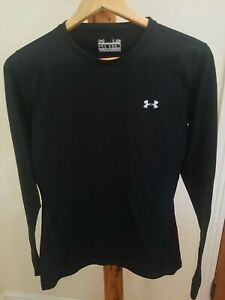 Men's Under Armour Cold Gear Shirt Compression Crew Large Solid Black base layer