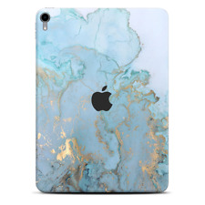 Skins Decal Wrap for Apple iPad Pro 11 2018 Teal Blue Gold White Marble
