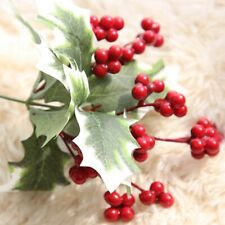 Christmas Red Artificial Flower Holly & Berry Pick Leaf Garland Decor Plsei