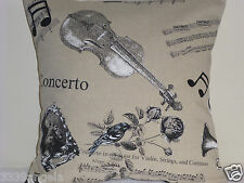 "16"" CUSHION COVER MUSICAL NOTES VIOLIN FRENCH HORN VINTAGE CHIC SHABBY TAUPE"