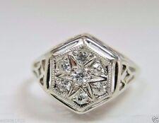 Antique  Art Deco Vintage Diamond Engagement 14K White Gold Ring Size 5.75 UK-L