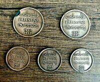 Lot of 5 Palestine Bronze Coin 1 and 2 Mils 1927- 1943 - British Mandate