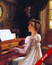 YOUNG MAN & WOMAN PIANO LESSON COURTSHIP ROMANCE PAINTING REAL CANVAS ART PRINT