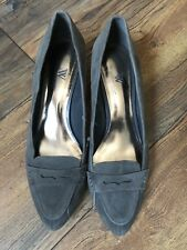 Worthington Suede Slip On Kitten Heel Pumps Penny Loafer Shoes Gray Size 8 1/2