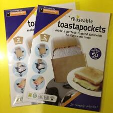 4x Toasted Sandwich/Toasty Maker/Toastie Making Bags Reusable Reuseable Pockets