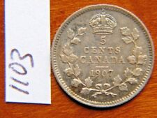 1907 Five 5c cent silver coin Canada