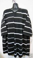 Mens New 5X T-Shirt Black Gray Striped TRUE ROCK V Neck Size Big