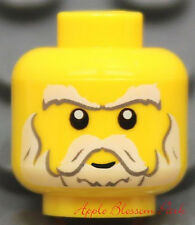 NEW Lego White Gray Beard Moustache MINIFIG HEAD -Castle Kingdoms Knight Santa
