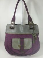 Fossil key per canvas and quilt large purple grey tote shoulder bag purse
