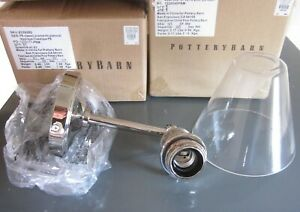 Set/2 Pottery Barn Classic Straight Arm Wall Sconces Flared Glass And Nickel New