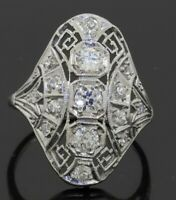 Antique Platinum 1.0CTW VS/F diamond cluster filigree cocktail ring size 5.25