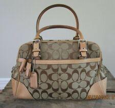 Coach Signature Hamptons Style #8K05 Camel Leather & Fabric Satchel Bag