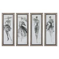 Retro Vintage Fashion Model Wall Art Feminine Silver Print Set 4 MidCentury
