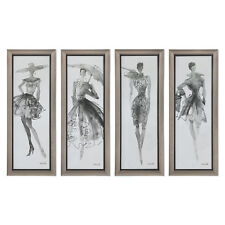 Retro Vintage Fashion Model Wall Art Feminine Silver Print Set 4 MidCentury
