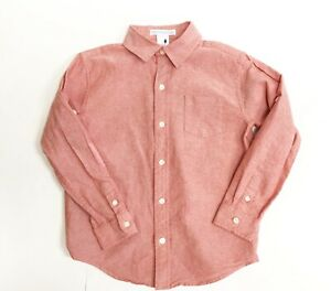 Janie and Jack Boy's Oxford Red Button Up Roll Tab Dress Shirt size 5