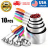 10PCS Measuring Cups and Spoons Set Stainless Steel Nonslip Silicone Handle