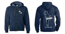 Great Dane Hoodie Full Zipped Dogeria Breed Design Women's & Men's Sizes