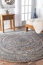 Braided Rug Round Denim Jute Floor Mat Handmade Reversible Area 240x240 Cm Rug