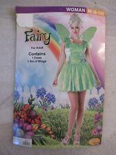 Womens Ladies Halloween Costume Green Fairy Dress Wings Adult Size Medium 8 10