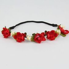 Boho Princess Flower Rose Headband Head Wrap Crown Band Garland Floral Ethereal